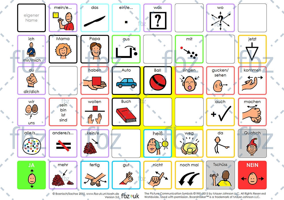 Kommunikationstafel DIN A4 mit PCS Symbolen